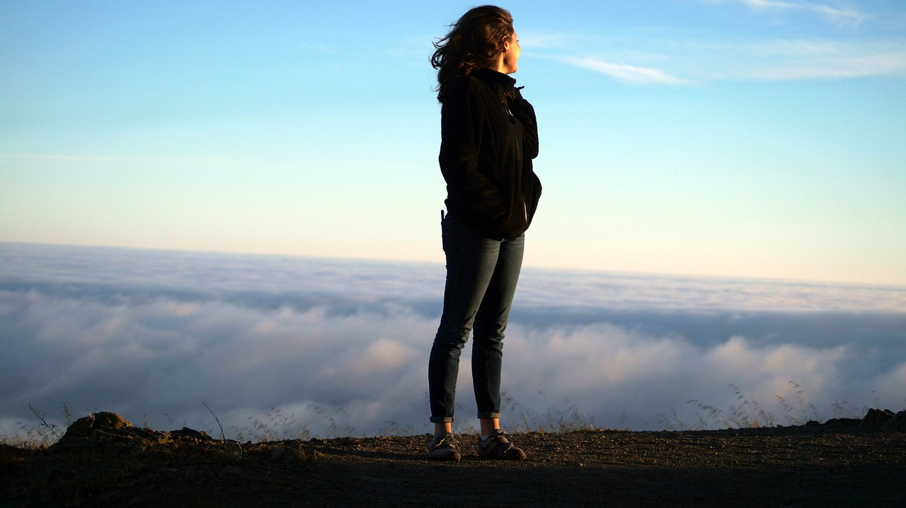 woman, heights, clouds